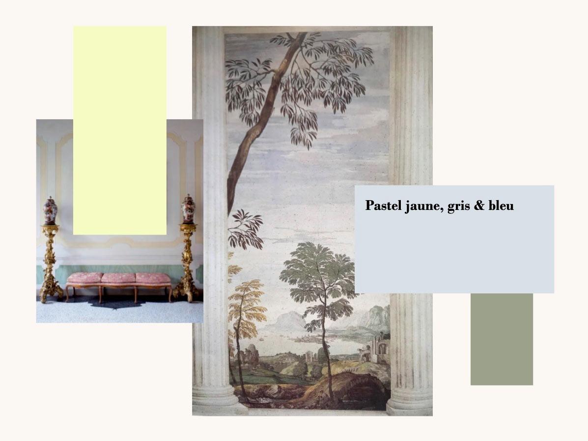 Photos de peintures et objets aux couleurs pastel jaune, gris et bleu