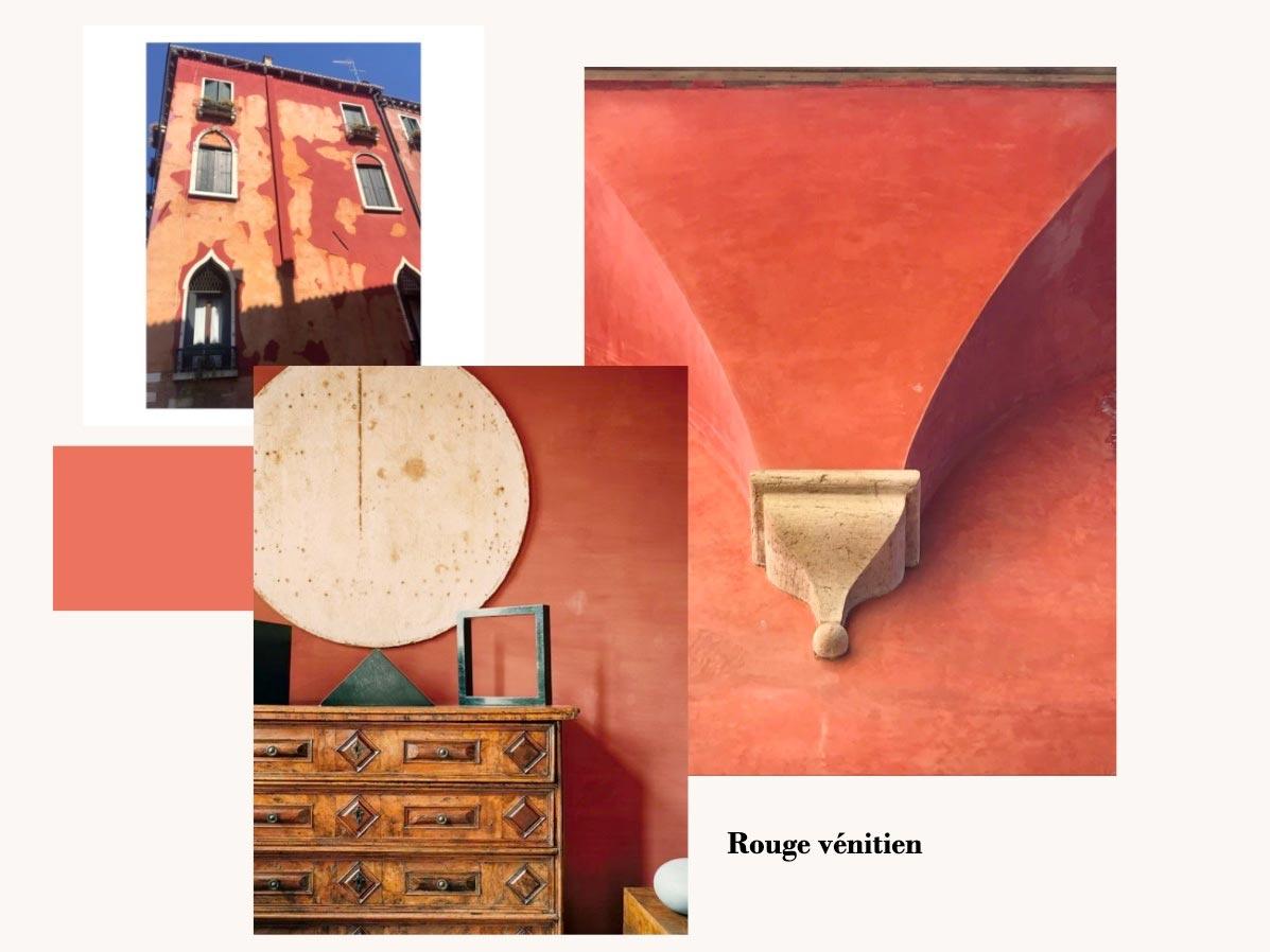 Facade et objet de couleur rouge vénitien