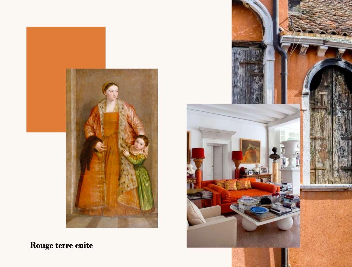 Peintures et objets aux couleurs Rouge terre cuite