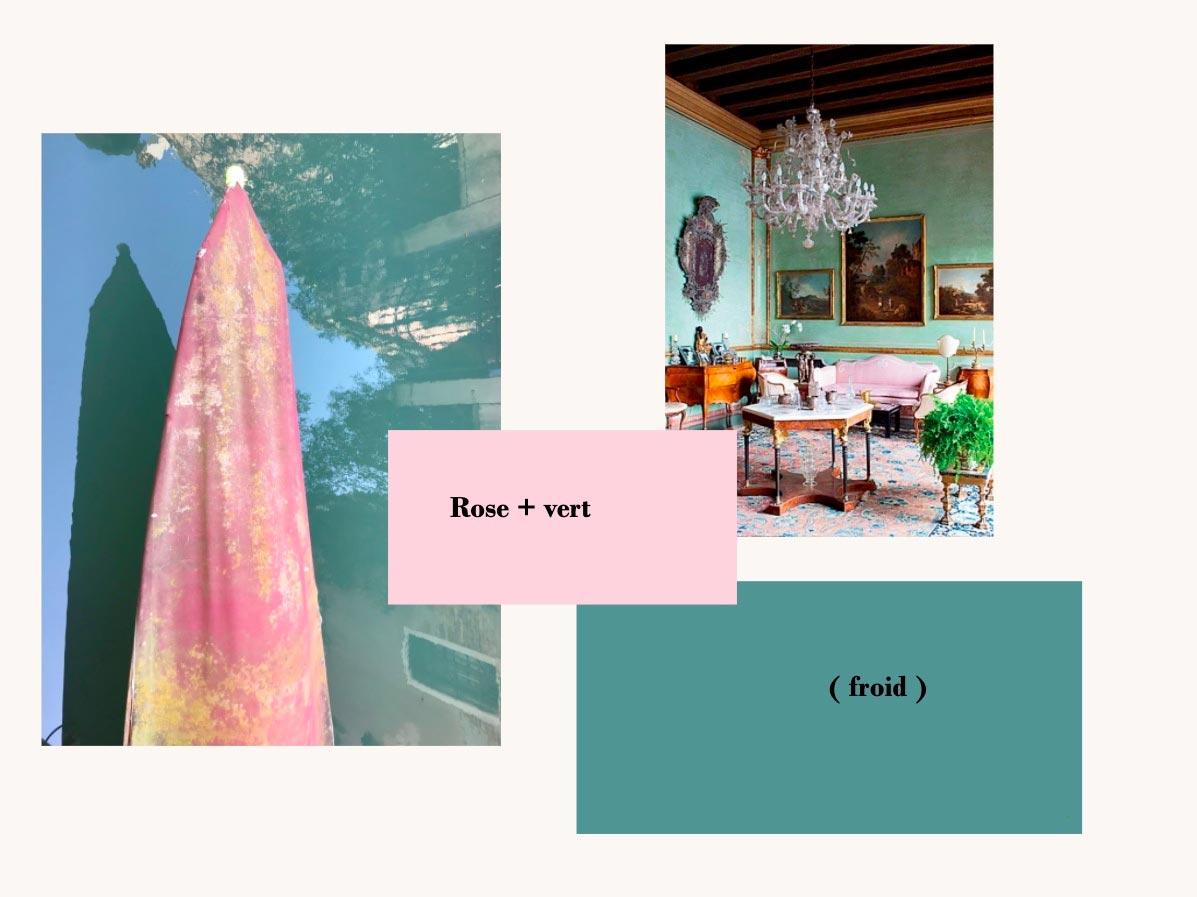 Palette de couleurs rose et vert froid à Venise