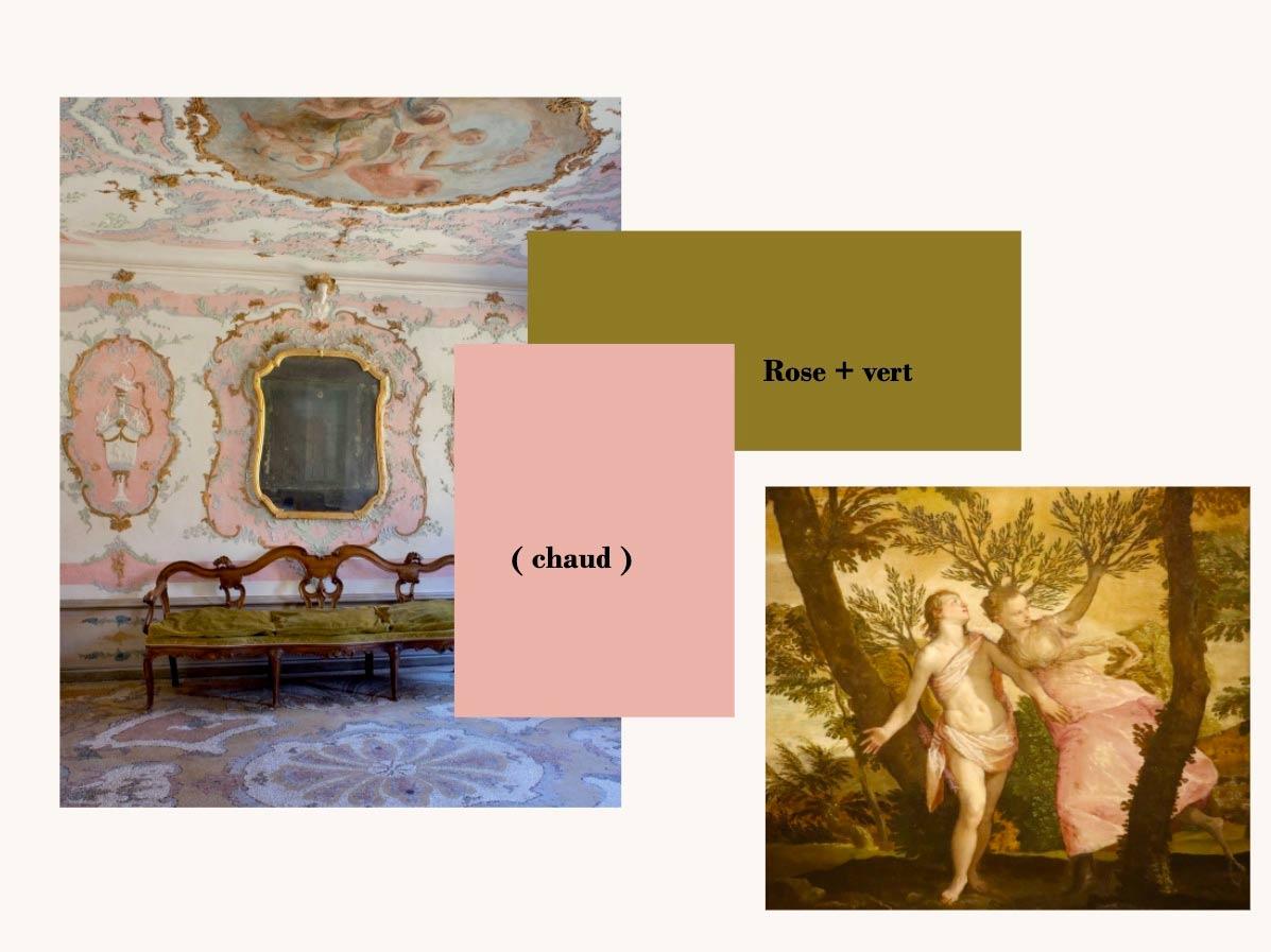 Peinture et objet dans les tons de Rose + vert chauds