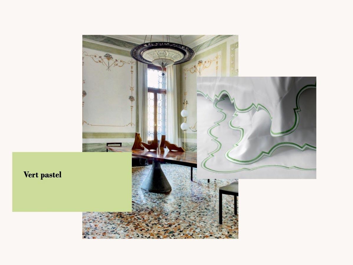 lieu et objets avec du vert pastel