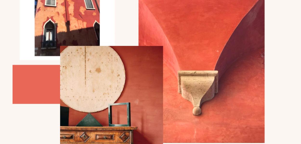 Diférentes photos de batiments italien avec du rouge vénitien