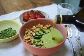 My Italian Bowl de chef // Velouté de courgettes, cannellini croustillants et pesto pistache
